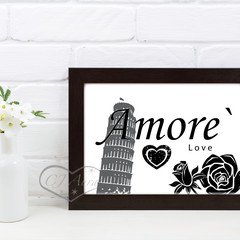 A4 and A3 Amore with Tower of Pisa Love Printable Art Black or Grey and White