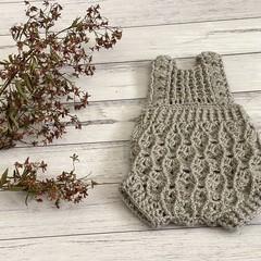 Crochet Elodie Romper, Size 6-9m baby girls Playsuit