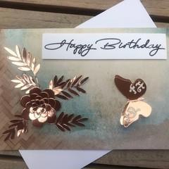 Birthday Metallic Butterfly & Flower