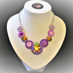 Girls button necklace - Lucky Ducky (Purple)