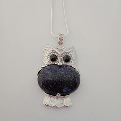 Silver owl natural stone blue goldstone pendant necklace