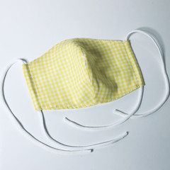 Face Mask 3 Layers - *Yellow Gingham* Triple Layered Face Mask,Reusable FaceMask