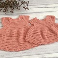 Crochet Celia Dress in coral size 0-6m 6-12m 12-18m 1-2y or 2-3y Baby Girl