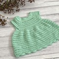 Crochet Celia Dress in mint size 0-6m 6-12m 12-18m 1-2y 2-3y Baby Girls Dresses