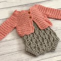 Crochet Elodie Romper, Size 0-3m 6-9m 12-18m, baby girls Playsuit