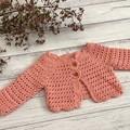 Crochet Celia Cardigan, Size 0-6m 6-12m 12-18m 1-2y 2-3y 3-4y Baby Girls