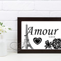 A4 and A3 Amour with Eifel Tower Love Printable Art Black or Grey and White