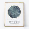 Personalised Watercolour Star Map - unique anniversary/wedding gift, digital art