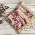 Crochet Pram Blanket, Crochet Baby Blanket, Baby Girls Wrap, Cot Blanket