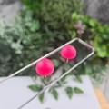 Hot Pink - Bubble Pop Button - Stud Earrings