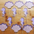 12 seahorse and shell cupcake toppers