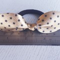 Genuine Leather, Top Knot Bow, Ponytail Hair Tie, Gold/Black
