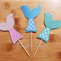 12 Mermaid tail cupcake toppers