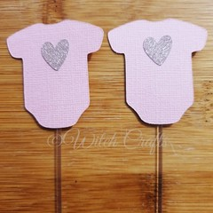 12 Pink onesie baby shower cupcake toppers