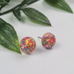 Confetti - Bubble Pop Button - Stud Earrings
