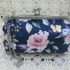 Ladies Clutch - Evening, Day, Wedding, Race Day, Garden Party - Navy Pink Floral