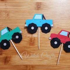 12 monster truck cupcake toppers