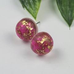 Fuschia Gold - Bubble Pop Button - Stud Earrings
