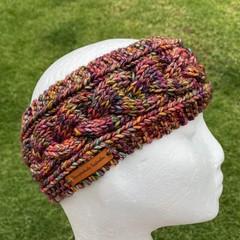 Knitted headband cable ladies rainbow men's headband