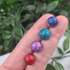 Teal, Purple, Navy and Red - Bubble Pop Button - Stud Earrings
