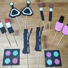 12 Make up cosmetics cupcake toppers