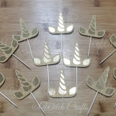12 unicorn horn and ears cupcake toppers