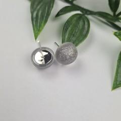 Silver - Bubble Pop Button - Stud Earrings