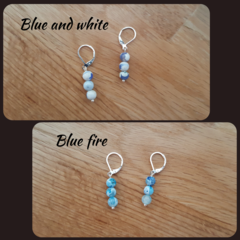 Blue and white or blue fire agate dangle 925 sterling silver lever back earrings