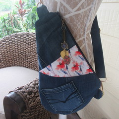 Women's Crossbody Bag - Recycled Denim with Front Pockets and Navy Strap