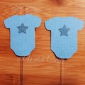 12 Blue onesie baby shower cupcake toppers