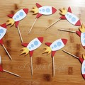 12 Rocket ship spaceship cupcake toppers