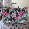 Women's Carry on Luggage/Overnight Bag/Weekender - Navy Floral Design
