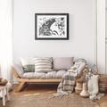 Printable Grey White MODERN TROPICAL FLOWER Art Print
