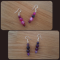Rose or Purple agate dangle 925 sterling silver hook earrings