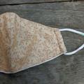 Cream and Tan leaf print Face Mask