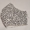 NEW FACE MASK 3PLY COTTON WHITE & BLACK LEAF