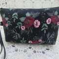 Ladies Wristlet Clutch- Black Floral