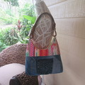 Women's Shoulder Bag - Recycled Denim with Aztec Contrast