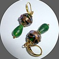 Emerald and wedding cake earrings. FREE SHIPPING