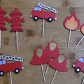 12 fire fighter themed cupcake toppers