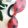 Genuine Leather, Top Knot Bow, Ponytail Hair Tie, Red/ Black Polkadot
