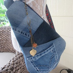 Women's Crossbody Bag - Recycled Denim with Front Pockets and Printed Strap