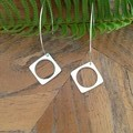 Recycled Silver circle within a square Earrings