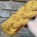 Knitted mustard cable headband hair accessory scrunchie mustard