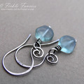 Spiralled Silver and Blue/Green Fluorite Earrings