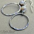 Hammered Hoop and Herringbone Weave Sterling Silver Lavender MOP Earrings