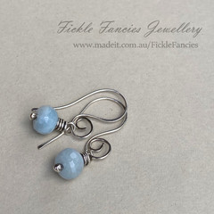Spiralled Silver and Aquamarine Earrings