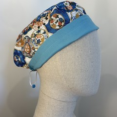 Colourful one of a kind reversible Scrub Hat - Oriental/Sea Green - Petite
