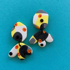 Yellow Jungle Dangle Earrings - Polymer Clay Earrings