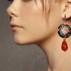 Enamel and topaz earrings. FREE SHIPPING